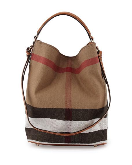 burberry ashby medium canvascalfskin hobo bag saddle