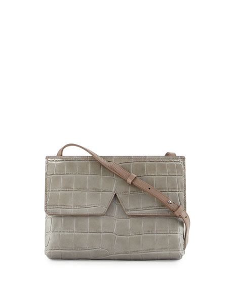 Vince Signature V Croc-Embossed Baby Crossbody Bag, New Stone