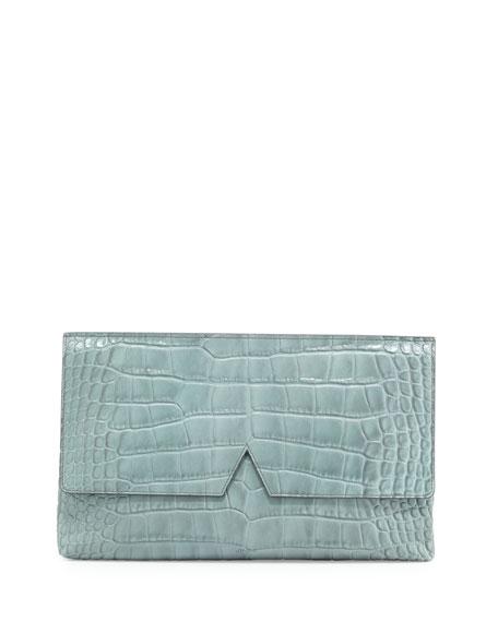 Vince Signature V Crocodile-Embossed Clutch Bag, Sage