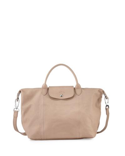 Le Pliage Cuir Handbag with Strap, Sandy