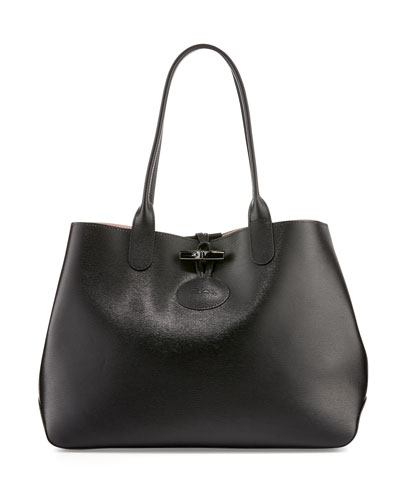 Roseau Reversible Leather Tote Bag, Black/Girl