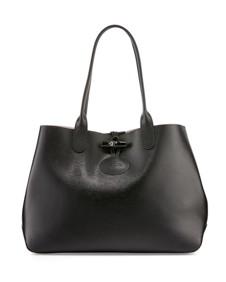 Longchamp Roseau Reversible Leather Tote Bag, Black/Girl