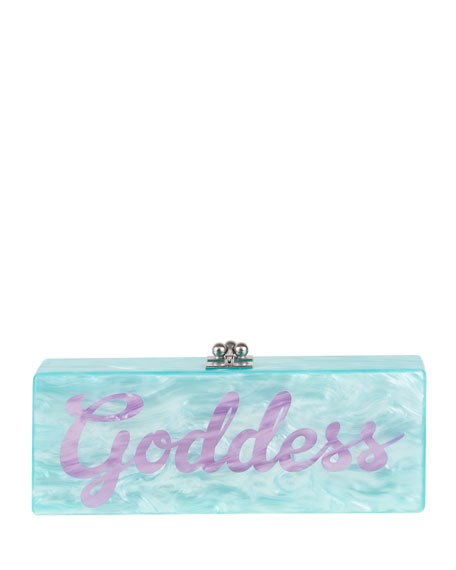"Flavia ""Goddess"" Clutch Bag, Aqua/Sage"