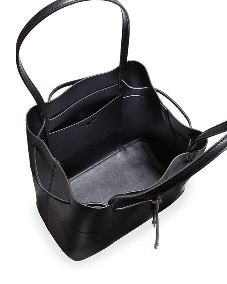 Tory Burch Block T Leather Bucket Tote Bag Black