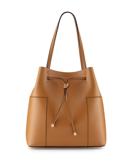 Block-T Leather Bucket Tote Bag, Vachetta