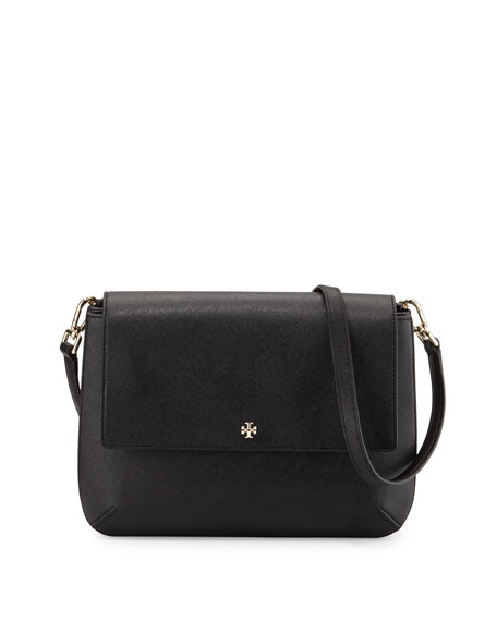 Tory Burch Robinson Leather Messenger Bag, Black