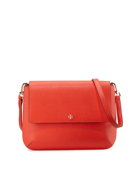 Tory Burch Robinson Leather Messenger Bag, Poppy Red