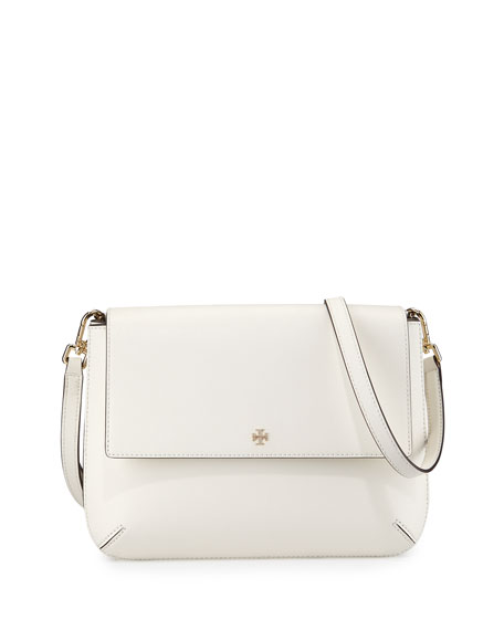 Tory Burch Robinson Leather Messenger Bag, New Ivory