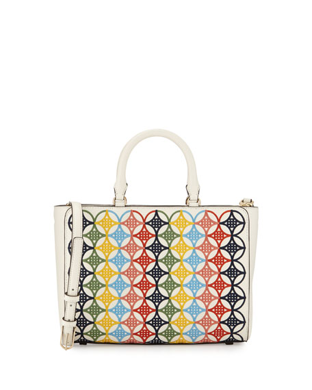 Tory Burch Small Robinson Embroidered Tote Bag, Ivory