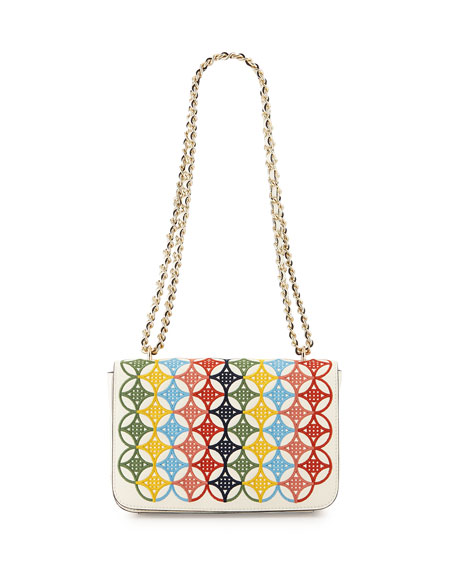 Tory Burch Robinson Embroidered Flap-Top Shoulder Bag, Ivory