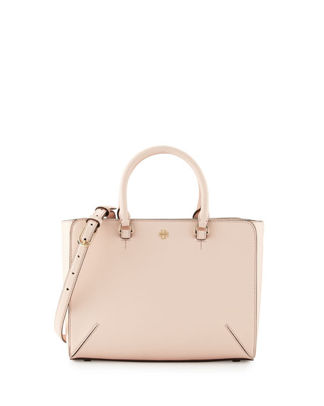 Tory Burch Robinson Small Zip Tote Bag, Pale Apricot