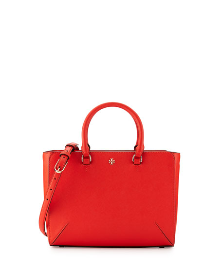 Tory Burch Robinson Small Zip Tote Bag, Poppy Red