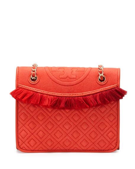 Tory Burch Fleming Canvas Medium Shoulder Bag, Poppy Red