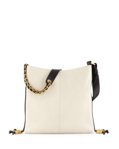 Image 1 of 3: Bayard Two-Tone Leather Shoulder Bag, Delivery/Noir