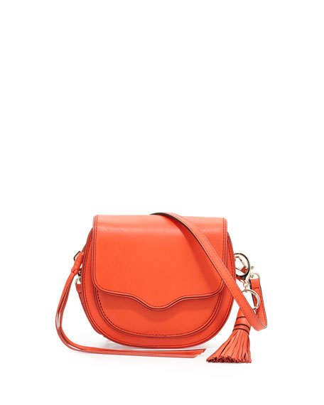 Rebecca Minkoff Suki Mini Leather Crossbody Saddle Bag, Poppy Red
