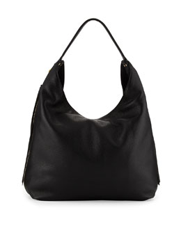 Bryn Leather Hobo Bag, Black