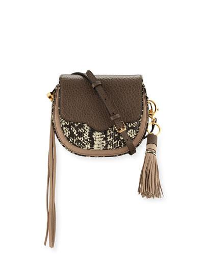 Suki Mini Leather Crossbody Bag, Taupe Multi