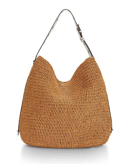 Rebecca Minkoff Sardinia Straw Leather Trim Hobo Bag Natural White Neiman Marcus