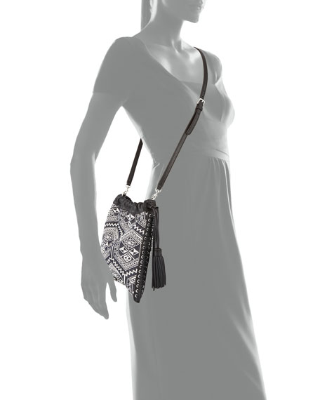 Moto Drawstring Crossbody Bag, White/Black