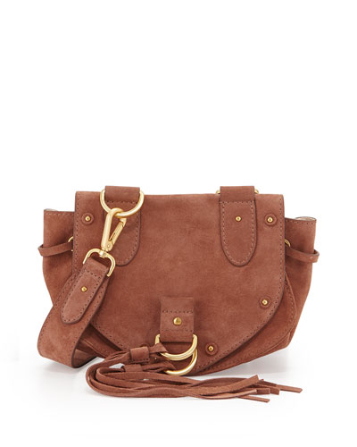 Collins Fringe Suede Saddle Bag, Terracotta