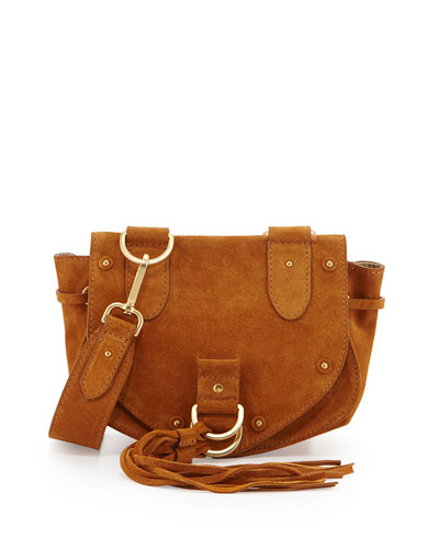 Collins Fringe Suede Saddle Bag, Warm Sand