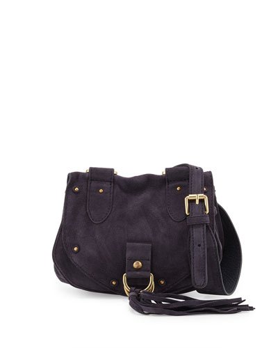 Collins Fringe Suede Saddle Bag, Midnight