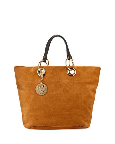 Summer Suede Tote Bag, Warm Sand