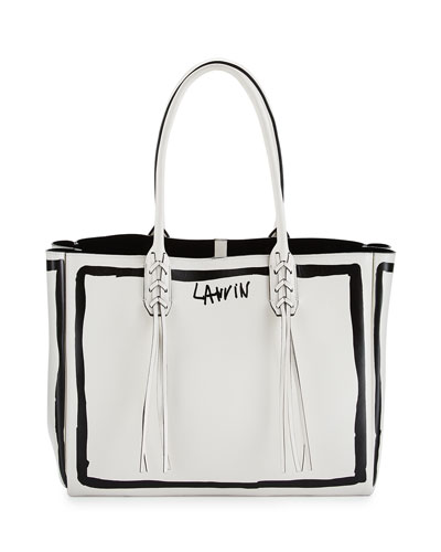 Small Tassel Logo-Print Shopping Tote Bag, White/Black