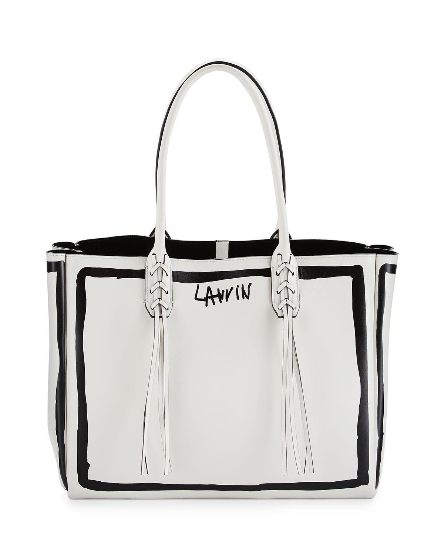 2253a745c Lanvin Small Tassel Logo-Print Shopping Tote Bag, White/Black ...