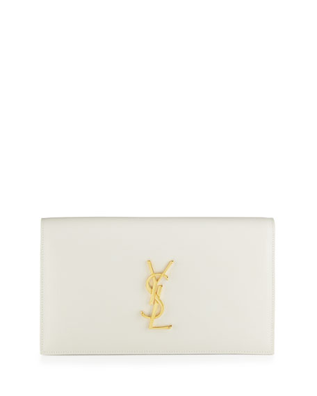 Monogram Calfskin Clutch Bag, Blanco