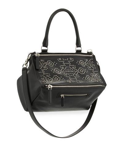 Pandora Carpet-Pattern Studded Shoulder Bag, Black