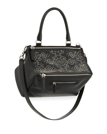 Givenchy Pandora Carpet-Pattern Studded Shoulder Bag, Black