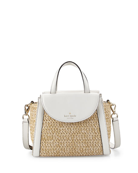 kate spade new york cobble hill straw small adrien satchel bag, natural/cement