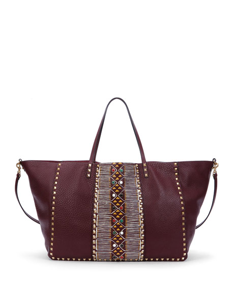 Valentino Rockstud Large Painted Tote Bag, Bordeaux