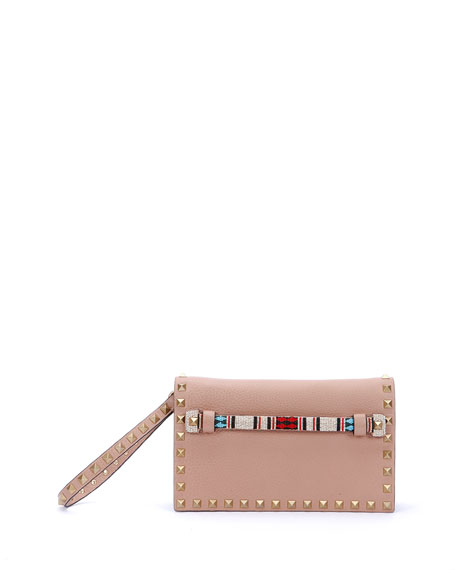 Valentino Small Beaded-Strap Rockstud Clutch Bag, Beige