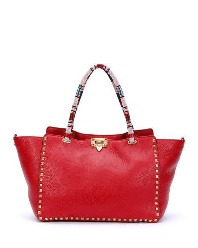 Medium Beaded-Handle Rockstud Tote Bag, Red