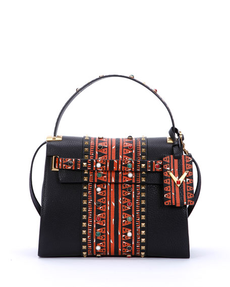 Valentino My Rockstud Medium Painted Satchel Bag, Black