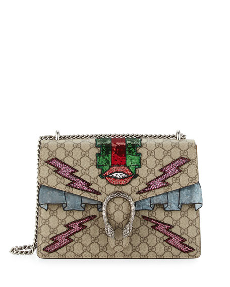 Gucci Dionysus Embroidered Supreme GG Shoulder Bag, Ebony/Taupe