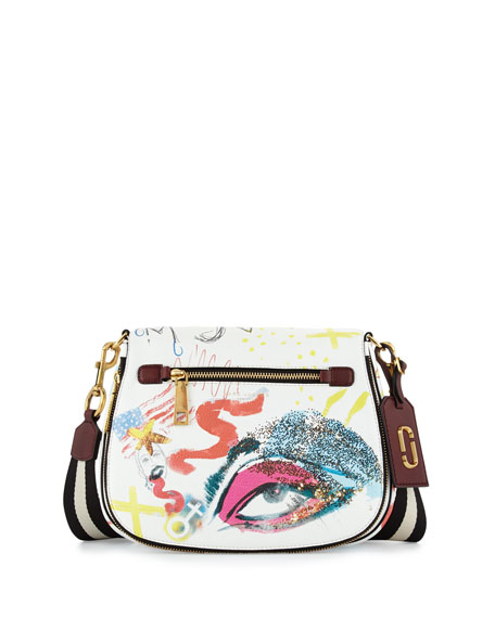 Marc Jacobs Collage Leather Saddle Bag, Off-White