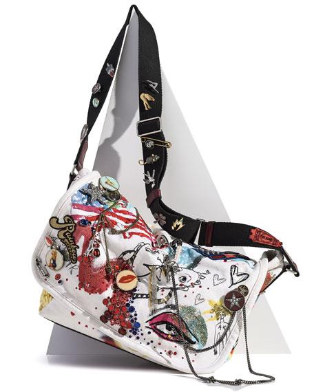 Collage Canvas Messenger Bag, Ecru/Multi