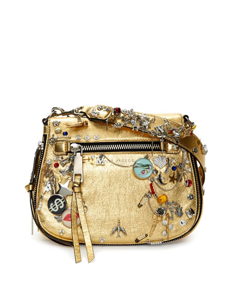 Charms & Trinkets Small Saddle Bag, Gold