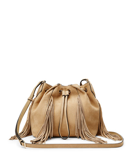 Diane von Furstenberg Boho Disco Leather Bucket Bag, Sand