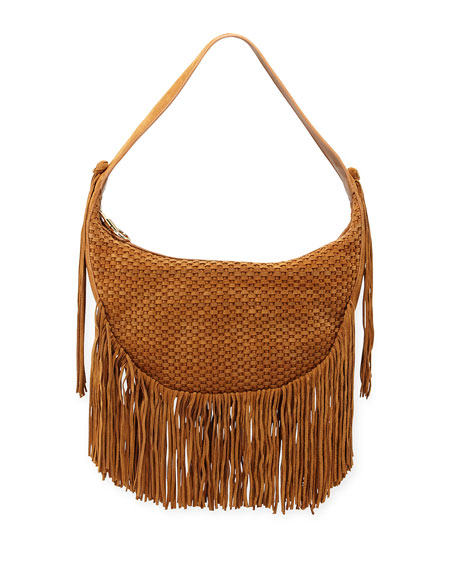 Elizabeth and James Zoe Woven Suede Hobo Bag w/ Fringe, Dune