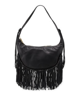 Zoe Smooth Leather Hobo Bag w/ Fringe, Black