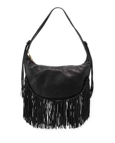 Zoe Smooth Leather Hobo Bag w/ Fringe, Black