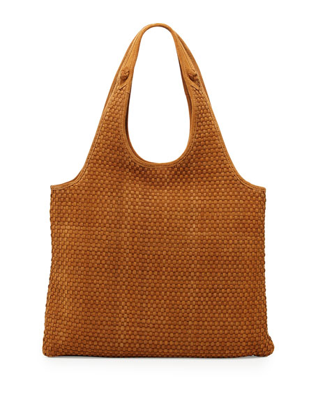 Elizabeth and James Zoe Woven-Suede Carryall Bag, Dune