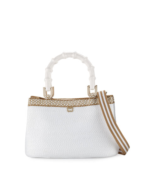 Eric Javits Leila Bamboo-Handle Tote Bag, White