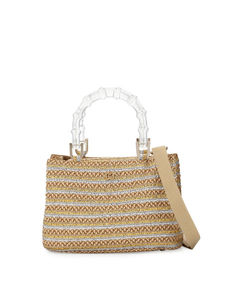 Eric Javits Leila Bamboo-Handle Tote Bag, Peanut/Silver/Gold