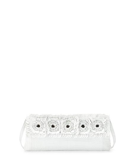 Nancy Gonzalez Crocodile Floral Flap Clutch Bag, White