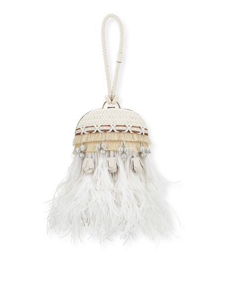 Tory Burch Embellished Feather Dome Clutch Bag, Porcelain White